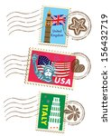 country stamps icon collection | Shutterstock . vector #156432719