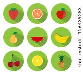 set of fruits flat icons in the ... | Shutterstock .eps vector #156439283