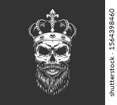 vintage king skull in royal... | Shutterstock . vector #1564398460