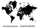 black map of world with... | Shutterstock .eps vector #1564418596