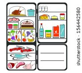 the refrigerator with food on a ... | Shutterstock .eps vector #156442580