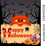 halloween background card with... | Shutterstock .eps vector #156445328