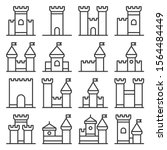 castle icon line style set on... | Shutterstock .eps vector #1564484449