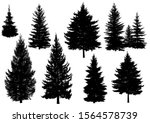 set of silhouettes of pine... | Shutterstock .eps vector #1564578739