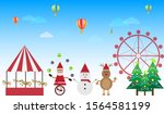 santa claus with friends... | Shutterstock .eps vector #1564581199