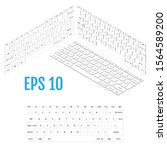 isometric white modern laptop...