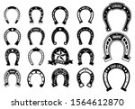 set of horse shoe silhoutte or...