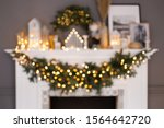 Blured Photo Of Fireplace With...