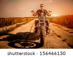 biker man wearing a leather... | Shutterstock . vector #156466130