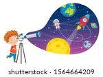 Kid Using Telescope For...