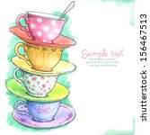 card with painted watercolor... | Shutterstock . vector #156467513