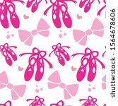 pink ballet pointes and bow... | Shutterstock .eps vector #1564678606
