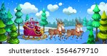 santa claus carries gifts in a... | Shutterstock .eps vector #1564679710