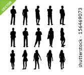 people silhouettes vector | Shutterstock .eps vector #156469073