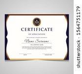 elegant blue and gold diploma... | Shutterstock .eps vector #1564751179