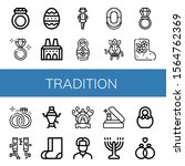 tradition simple icons set....