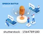 isometric speech battle and... | Shutterstock .eps vector #1564789180