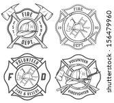 set of fire department emblems... | Shutterstock . vector #156479960