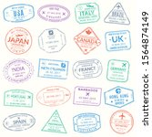 passport stamp set. visa stamps ... | Shutterstock .eps vector #1564874149