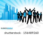 Winning Business Team against City Skyline. Vector illustration of a group of Male and Female Business People in Winning Dynamic Poses depicted as silhouettes against a City Skyline. - stock vector