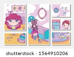anime cute girls and boy room...   Shutterstock .eps vector #1564910206