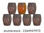 row of oak barrels one light... | Shutterstock . vector #1564947973
