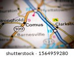 Comus. Maryland. Usa On A Map