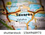 Tavares. Florida. USA on a map