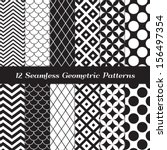 Black and White Geometric Seamless Patterns. Retro Mod Backgrounds in Chevron, Polka Dot, Diamond, Checkerboard, Stars, Triangles, Herringbone and Stripes Patterns. Pattern Swatches with Global Colors | Shutterstock vector #156497354