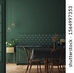Modern Dark Deep Green Kitchen...