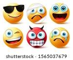 emoticon or emoji face vector... | Shutterstock .eps vector #1565037679