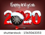 snowy new year numbers 2020 and ... | Shutterstock .eps vector #1565063353