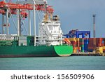 container stack and cargo ship... | Shutterstock . vector #156509906