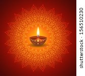 diwali lamp on decorative... | Shutterstock .eps vector #156510230