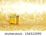 golden box with christmas gifts ... | Shutterstock . vector #156512090