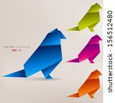 origami paper bird on abstract... | Shutterstock .eps vector #156512480