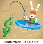retro corporate guy is fishing... | Shutterstock .eps vector #156516419
