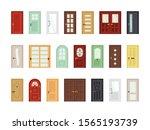 detailed front doors flat...   Shutterstock .eps vector #1565193739