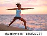 yoga woman in zen meditating in ... | Shutterstock . vector #156521234