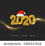 gold metallic numbers 2020.... | Shutterstock .eps vector #1565217616