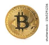 golden bitcoin on white... | Shutterstock . vector #1565291236