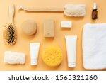 set of bath products on orange... | Shutterstock . vector #1565321260