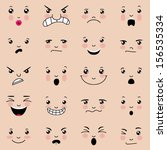Set of 20 facial expressions. EPS10 vector illustration, global colors, easy to modify.
