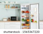 Open Big Fridge With Products...