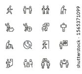 characters line icon set. old... | Shutterstock .eps vector #1565371099