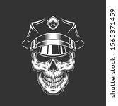 monochrome policeman skull in... | Shutterstock . vector #1565371459