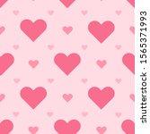 pink hearts seamless vector... | Shutterstock .eps vector #1565371993