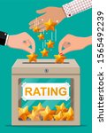 rating box and hand with golden ... | Shutterstock . vector #1565492239