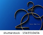 golden 2020 new year logo.... | Shutterstock .eps vector #1565510656