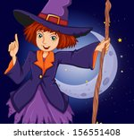 illustration of a witch holding ... | Shutterstock . vector #156551408